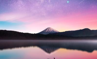 Milky way, mount Fuji, reflections, sunset, lake