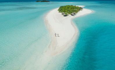 Beach, aerial view, tropical island, Maldives