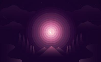 Forest gradient half moon nightscape minimal 4k