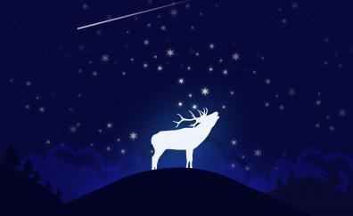 Deer moon night digital art