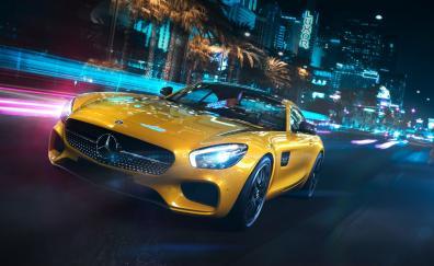 2018 Mercedes-Benz AMG GT, yellow, luxury car