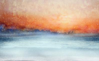 Earth, scenic, clouds, sea, sky, horizon