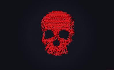 Skull glitch art dark red 4k