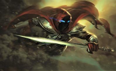 Devil, warrior, sword, fantasy, art