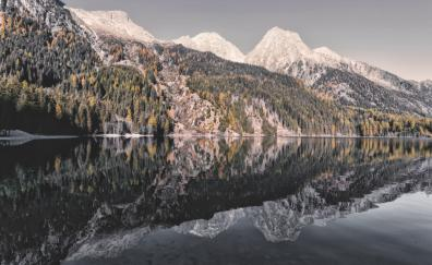 Nature, mountains, lake, trees, reflections