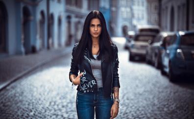 Street, portrait, leather jacket, girl model