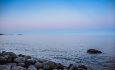 Coast water rocks sunset blue sky