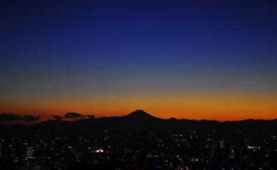 Dawn sunet mount fuji sky