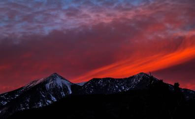 Mountains sunset sky snow mountains