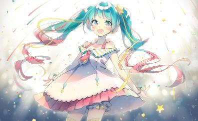 Hatsune miku, two ponytails, happiness