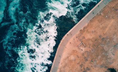 Waves, coast, aerial view