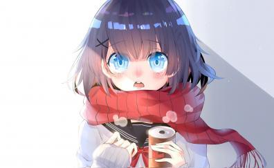 Curious anime girl beautiful blue eyes