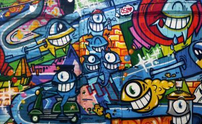 Graffiti art bright street wall