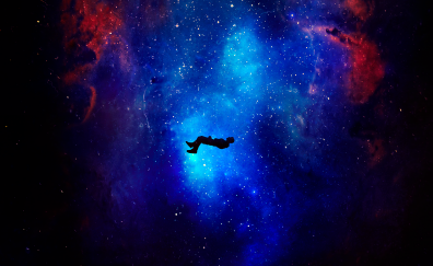 Silhouette, Levitation, space, cosmos, fantasy