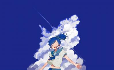 Happy mood anime girl