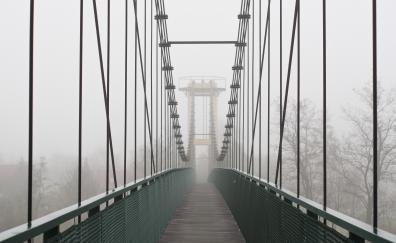 Suspension bridge foggy day