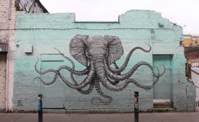 Elephant, octopus, wall art