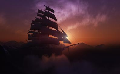 Flight, fantasy, clouds, sky, sailing ship