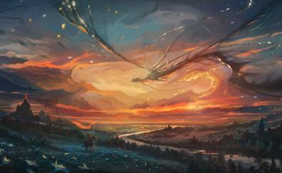 Warrior dragon flight sunset art