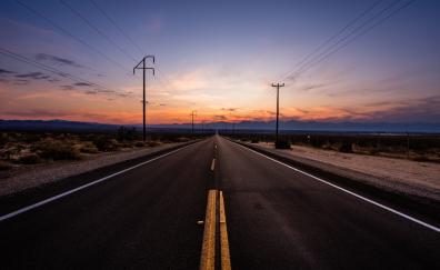 Road sunset nature skyline