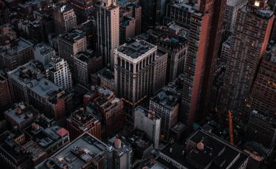 Aerial view, cityscape, dark, buildings