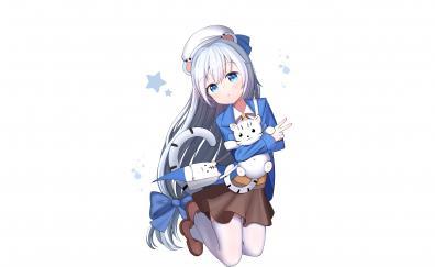 White hair, cute, jump, anime girl