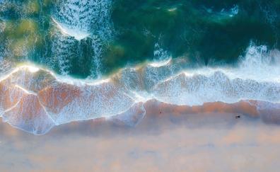 Exotic beach, aerial view, green sea waves, nature