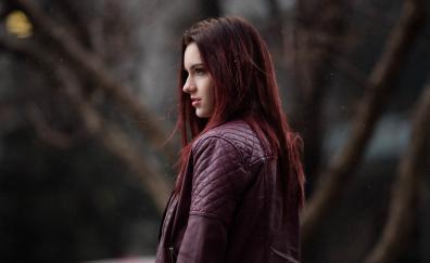Woman model red head jacket 4k