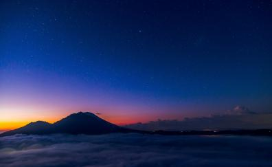 Night, clouds, sky, mountains, volcano