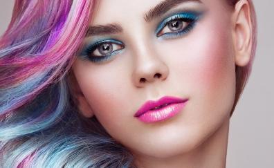 Color hair, girl model, makeup, close up