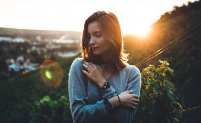Sunlight girl model outdoor