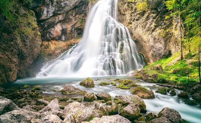 Rocks moss waterfall