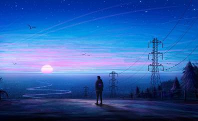 Artwork, man, the explorer, sunset