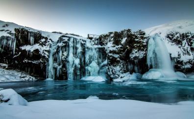 Winter, freezing lake, waterfall, nature