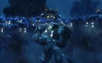 Starcraft soldiers rain video game