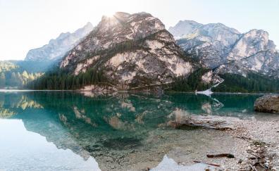 Mountains lake reflections 5k