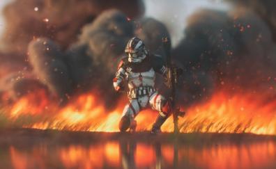 Clone trooper, Star Wars, fire