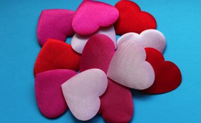 Hearts shapes fabric close up