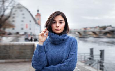 Brunette girl model turtleneck tshirt