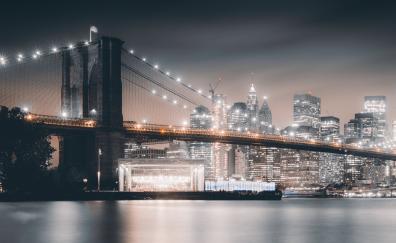 Brooklyn Bridge, night, city, buildings, architecture