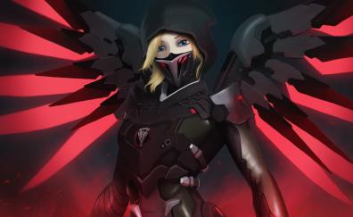 Mercy, overwatch, mask, red wings