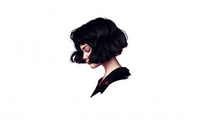 Minimal, woman, short hair, art