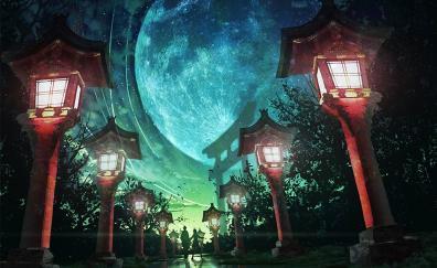Moon night street lights artwork