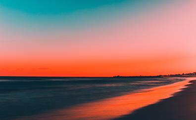 Beach clean skyline sunset 4k