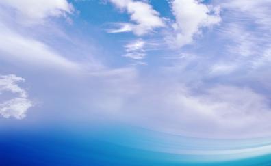 Bleu sea, clouds,.