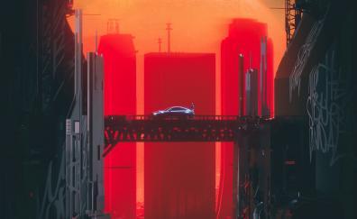 City, car, bridge, cityscape, art