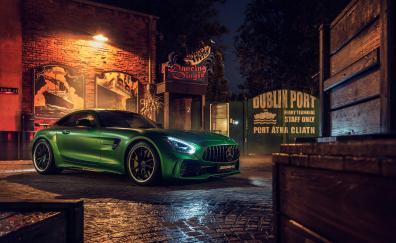 Mercedes-AMG GT R, green, luxury car