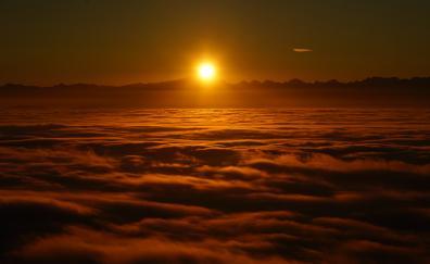 Sunrise above clouds 4k