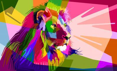 Lion geometry muzzle digital art