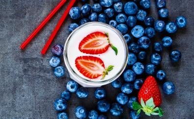 Blueberries milkshake strawberry drink